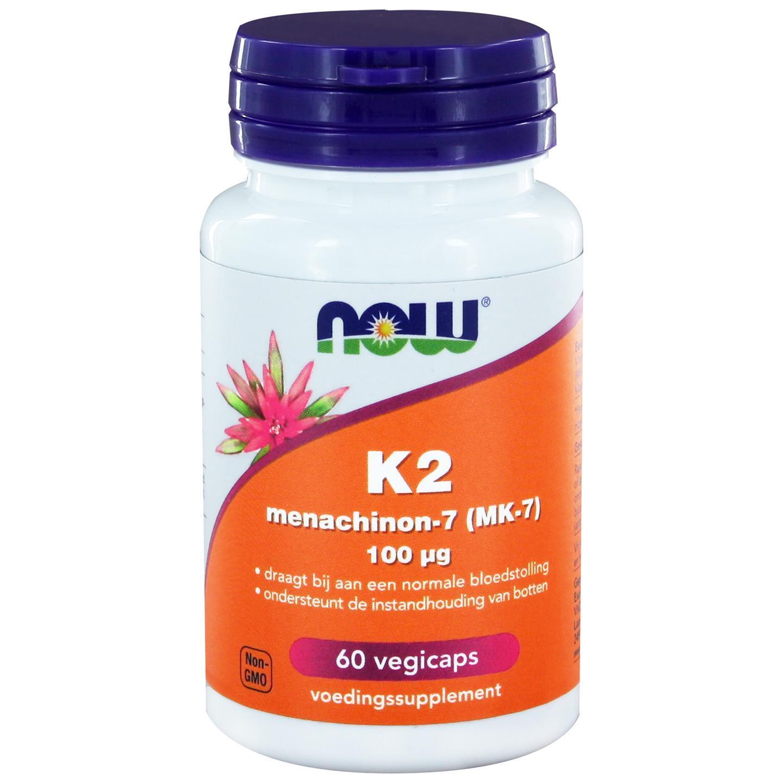 Image of Vitamine K2 Menachinon 100 mcg (60 gél veggie) - Now Foods