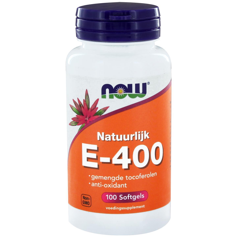 Image of Now Foods, E-400 100 % naturel mélangé Tocopherols, 100 gélules