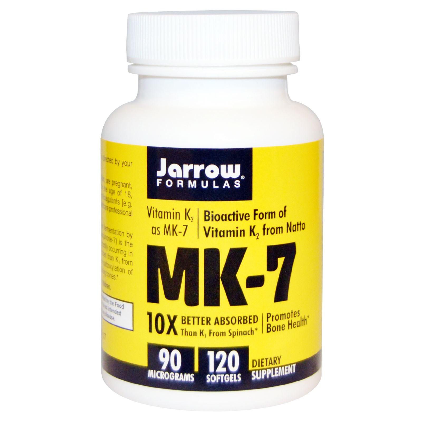 Image of MK-7 vitamine K2 comme MK-7, 90 mcg (120 gélules) - Jarrow Formulas