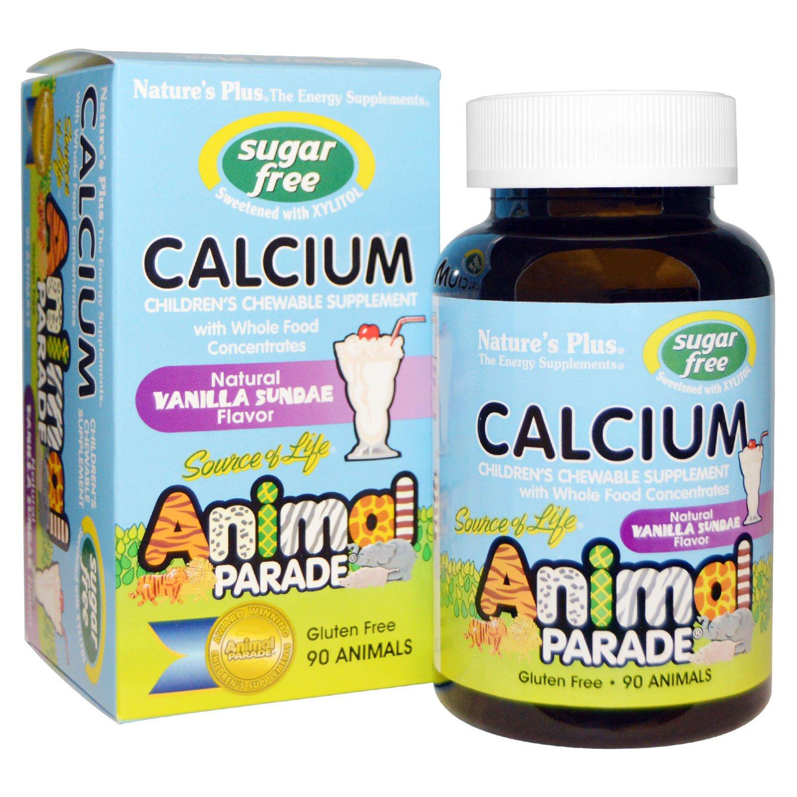 Image of Calcium, Sugar Free, Natural Vanilla Sundae Flavor (90 Animals) - Nature's Plus