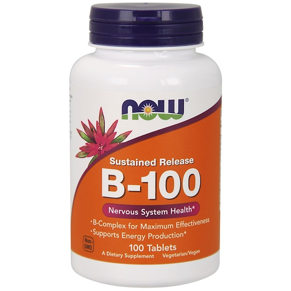 Image of B-100 Sustained Release (100 tablets) - Now Foods