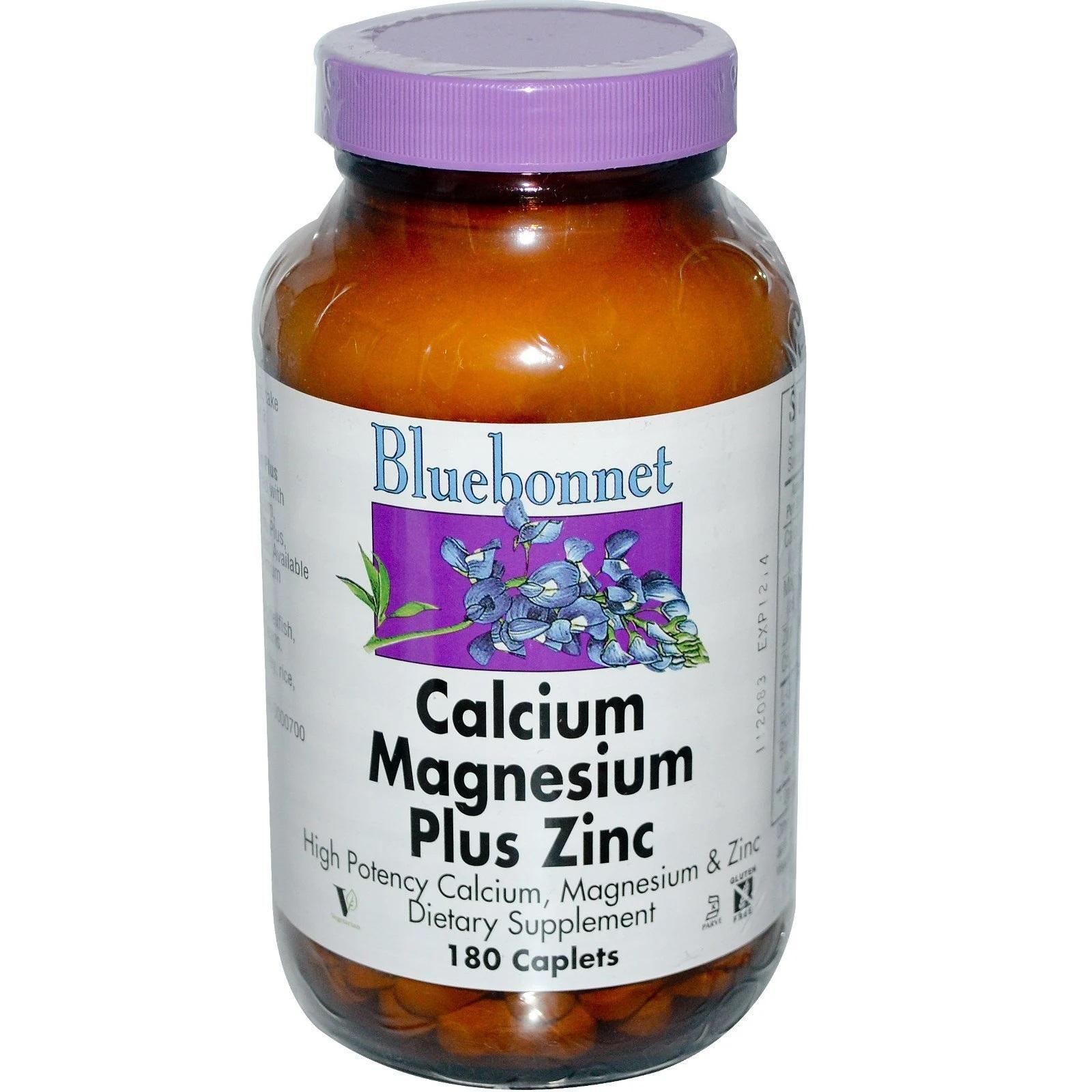 Image of Calcium Magnesium Plus Zinc (180 caplet) - Bluebonnet Nutrition