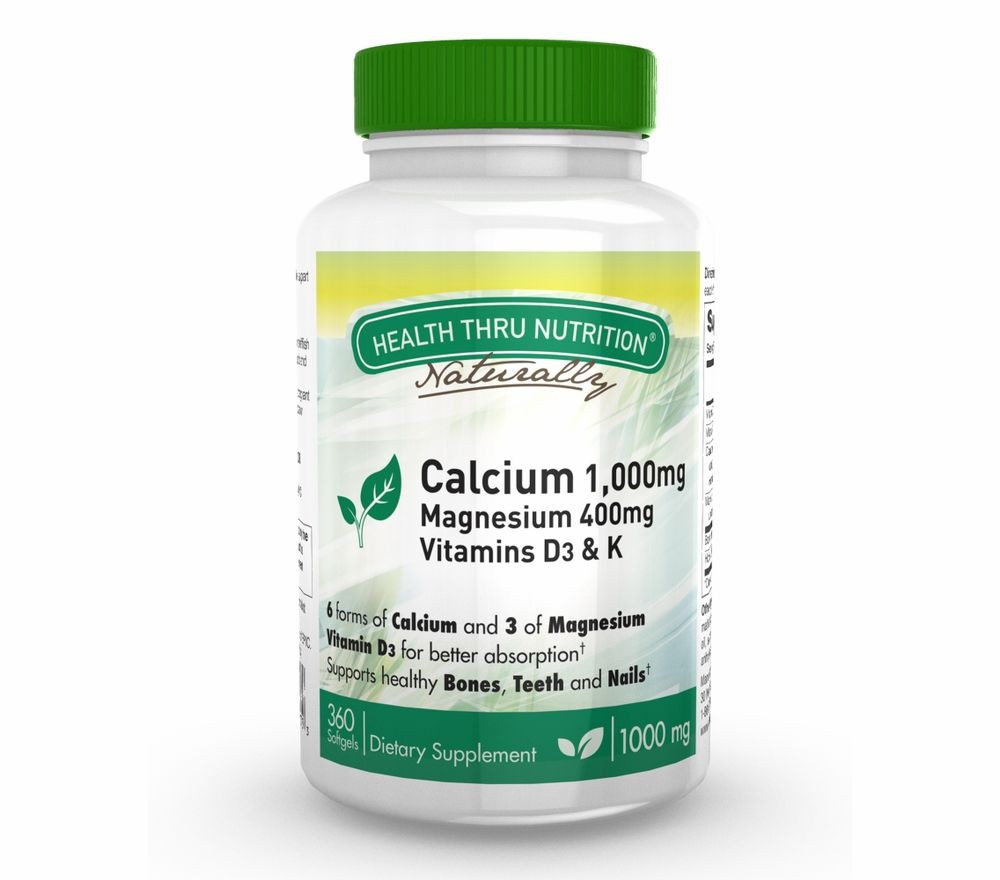 Image of Calcium 1000 mg and Magnesium 400 mg with 100iu D3 & K (360 Softgels) - Health Thru Nutrition