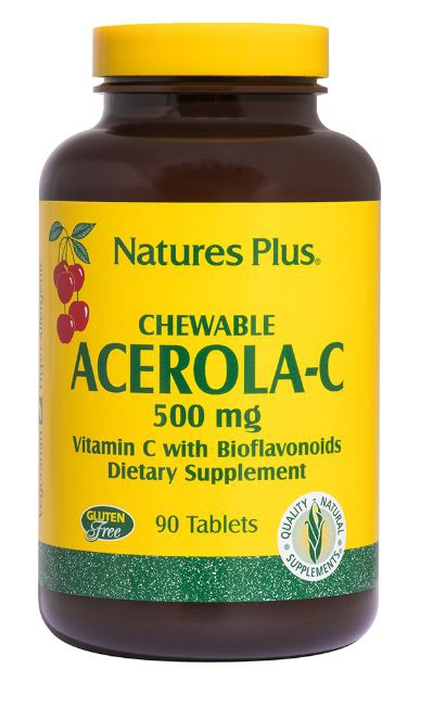 Image of Chewable Acerola-C Vitamin C with Bioflavonoids 500 mg (90 Tablets) - Nature's Plus