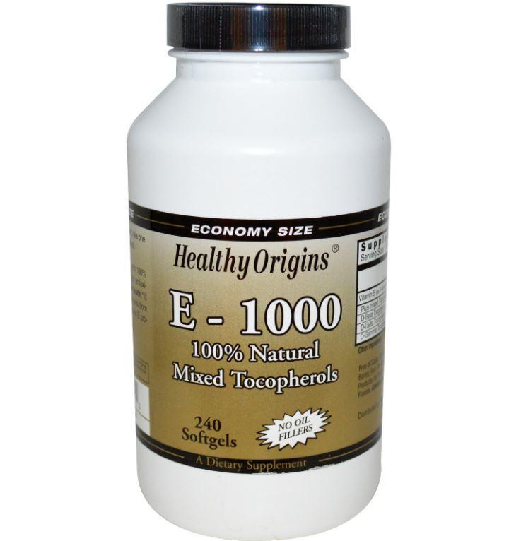 Image of Healthy Origins, E-1000, 100 % naturel mélangé Tocopherols, 240 gélules