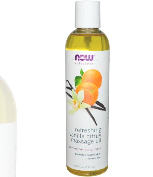 Image of Fraîcheur citron vanille (237 ml) - d'huile de Massage - Now Foods