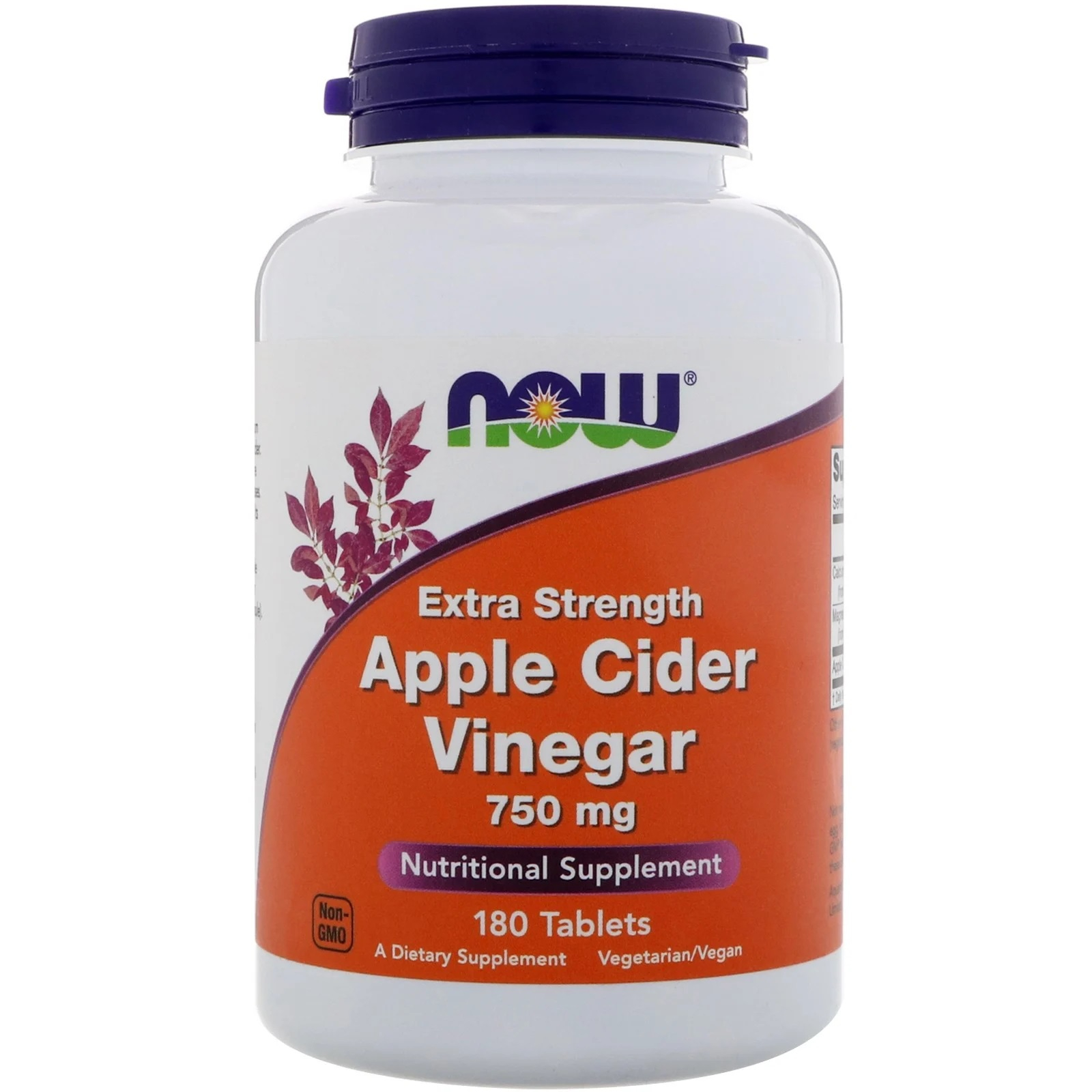 Image of Apple Cider Vinegar- Extra Strength 750 mg (180 tablets) - Now Foods