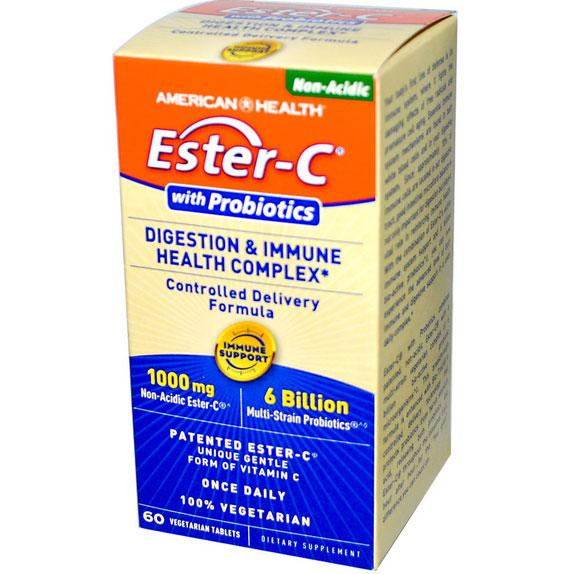 Image of American Health, Ester-C avec probiotiques, Digestion & santé immunitaire complexe, 60 Tabs Veggie